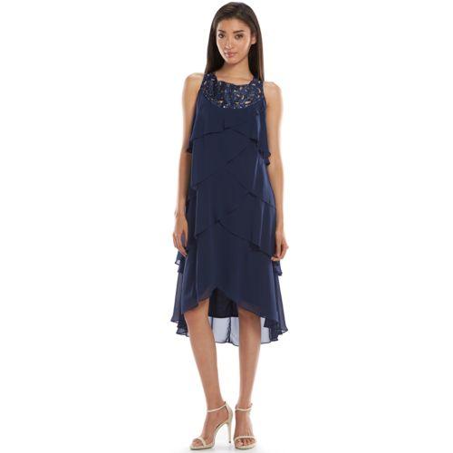 EXPO Beaded Tiered Chiffon Dress - Women's