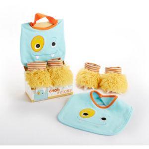 Baby Aspen Chomp & Stomp Monster Bib & Booties Gift Set - Baby