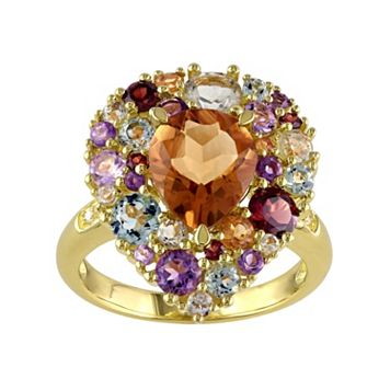 Citrine, Gemstone & Diamond Accent Yellow Rhodium-Plated Sterling Silver Teardrop Ring