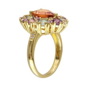 Stella Grace Citrine, Gemstone & Diamond Accent Yellow Rhodium-Plated Sterling Silver Teardrop Ring