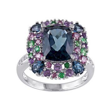 Blue Topaz, Gemstone & Diamond Accent Sterling Silver Ring