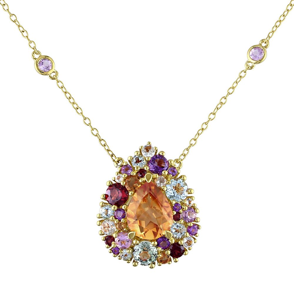 Stella Grace Gemstone Yellow Rhodium-Plated Sterling Silver Station Necklace