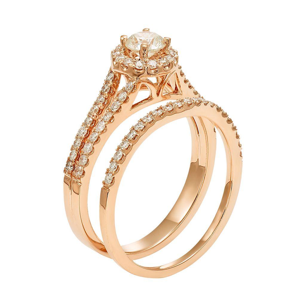 IGL Certified Diamond Halo Engagement Ring Set in 14k Rose Gold (1 Carat T.W.)