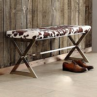 HomeVance Bastian Faux Cow Bench
