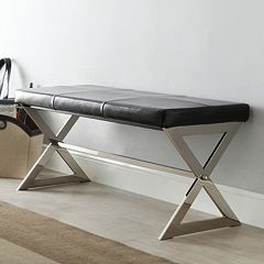 HomeVance Bastian Leather Bench