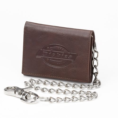 Dickies Brown Trifold Wallet & Chain - Men