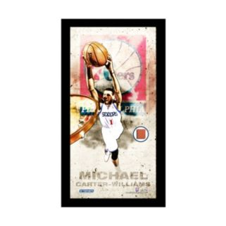 """Steiner Sports Philadelphia 76ers Michael Carter-Williams 10"""" x 20"""" Player Profile Wall Art with Game-Used Basketball"""