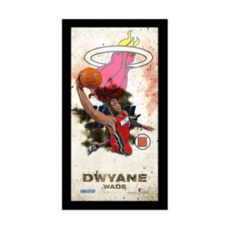 """Steiner Sports Miami Heat Dwyane Wade 10"""" x 20"""" Player Profile Wall Art with Game-Used Basketball"""