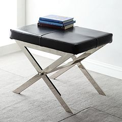HomeVance Bastian Leather Stool