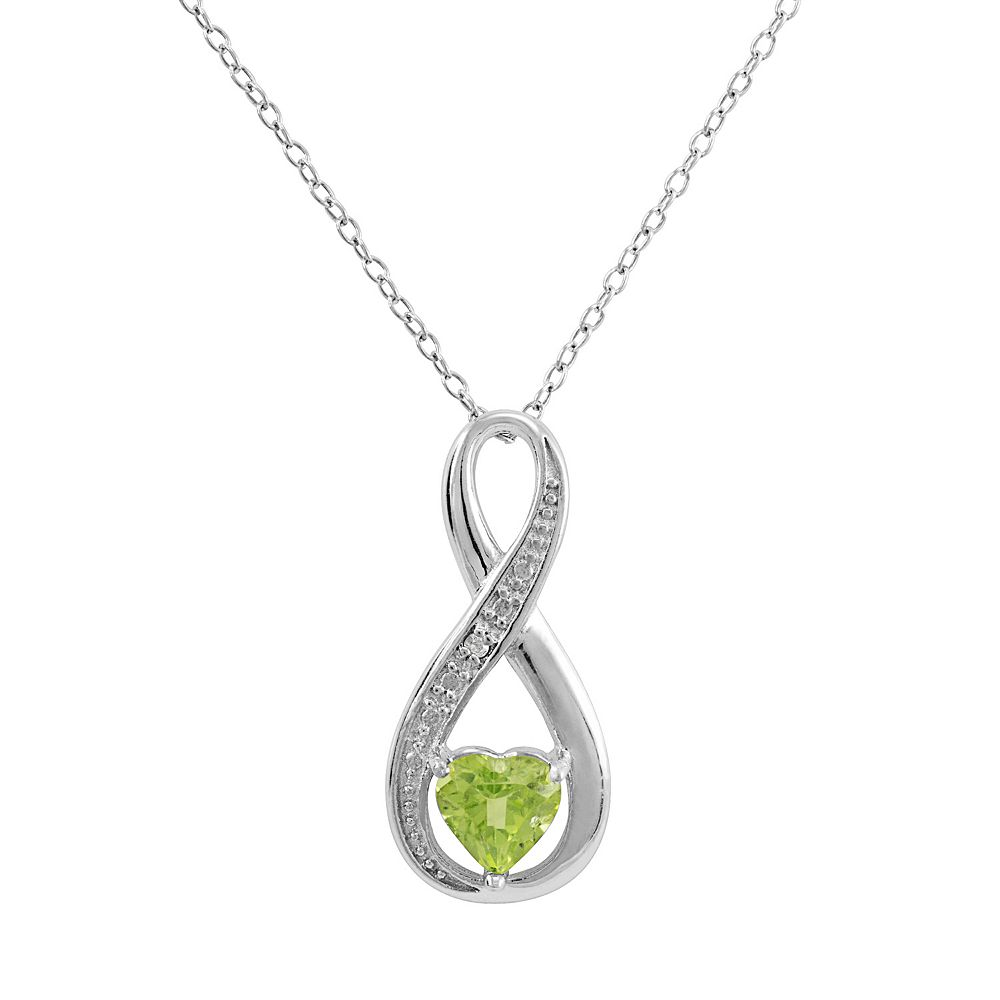 RADIANT GEM Peridot Sterling Silver Infinity Pendant Necklace