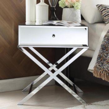 HomeVance Eleos Mirrored Silver Tone Campaign Accent Table