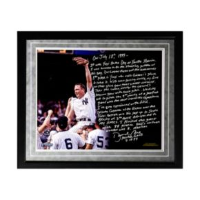 "Steiner Sports New York Yankees David Cone Yogi Berra Day Perfect Game Facsimile 16"" x 20"" Framed Metallic Story Photo"