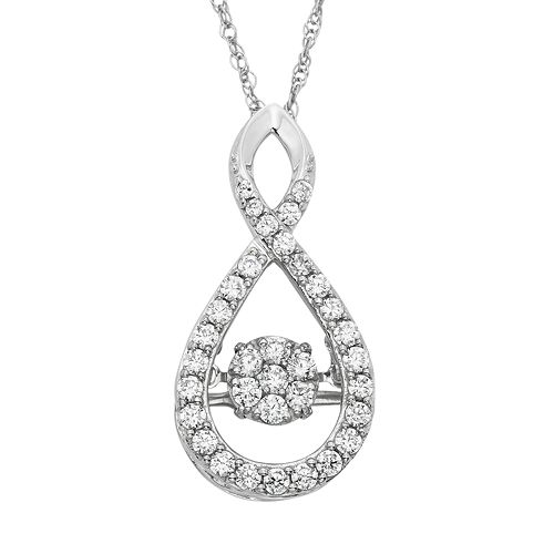 Dancing Love 5/8 Carat T.W. Diamond 10k White Gold Infinity Pendant Necklace