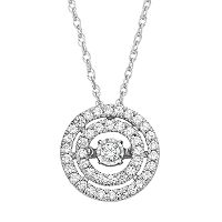 Dancing Love 3/8 Carat T.W. Diamond 10k White Gold Double Halo Pendant Necklace
