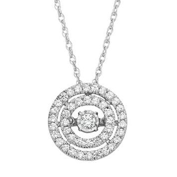 Dancing Love 3/8 Carat T.W. Diamond 10k White Gold Double Halo Pendant Necklace