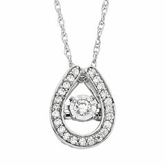 Dancing Love 1/5 Carat T.W. Diamond 10k White Gold Horseshoe Pendant Necklace