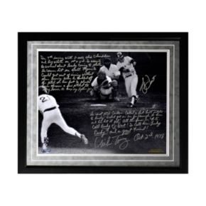 """Steiner Sports Bucky Dent and Mike Torrez 1978 Walk-Off Home Run Facsimile 16"""" x 20"""" Framed Metallic Story Photo"""