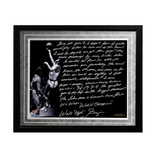 "Steiner Sports New York Knicks Walt Frazier The Willis Reed Game Facsimile 16"" x 20"" Framed Metallic Story Photo"