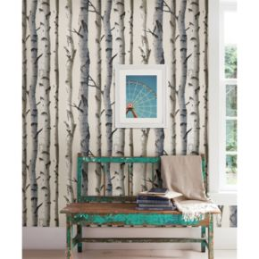 Brewster Home Fashions Irvin Gray Birch Tree Wallpaper