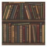 Beacon House Atheneum Burgundy Antique Books Wallpaper