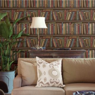 Beacon House Atheneum Burgundy Antique Books Wallpaper