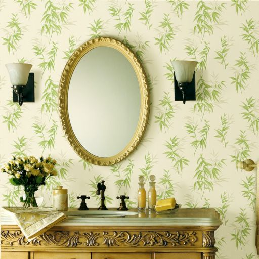Brewster Home Fashions Oates Green Bamboo Leaf Texture Wallpaper