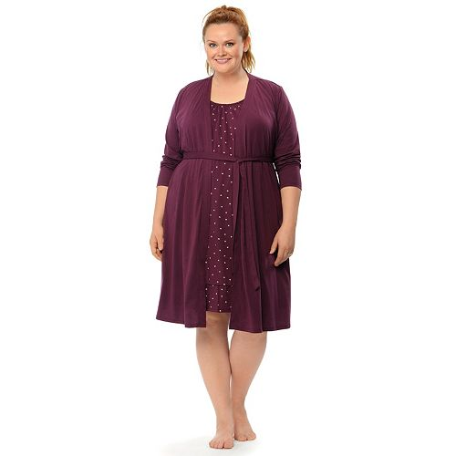 3b24b5626348c Plus Size Maternity Oh Baby by Motherhood™ Nursing Gown & Robe ...