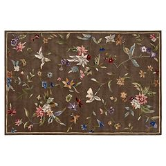 Nourison Julian Floral Brown Wool Rug