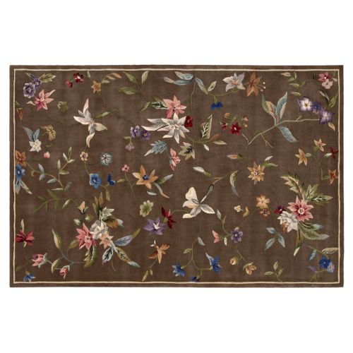 Nourison Julian Floral Brown Wool Rug