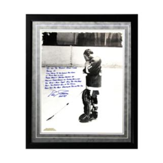 """Steiner Sports Detroit Red Wings Eddie Giacomin Returning to MSG Facsimile Facsimile 16"""" x 20"""" Framed Metallic Story Photo"""