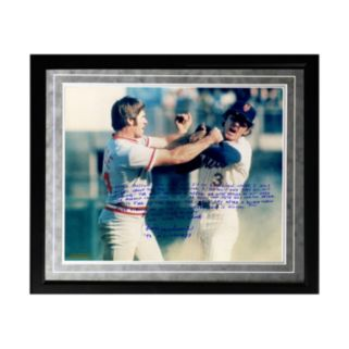 "Steiner Sports New York Mets Bud Harrelson Fighting Rose Facsimile 16"" x 20"" Framed Metallic Story Photo"