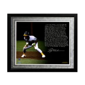 "Steiner Sports Oakland Athletics Rickey Henderson World Series Earthquake Facsimile 16"" x 20"" Framed Metallic Story Photo"