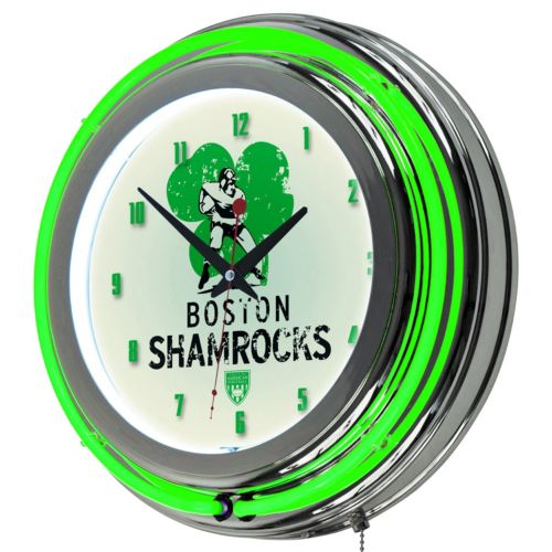 Boston Shamrocks Chrome Double-Ring Neon Wall Clock