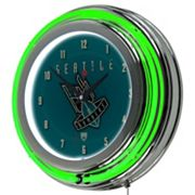 Seattle Bombers Chrome Double-Ring Neon Wall Clock