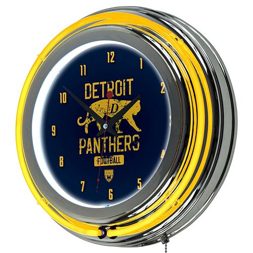 Detroit Panthers Chrome Double-Ring Neon Wall Clock