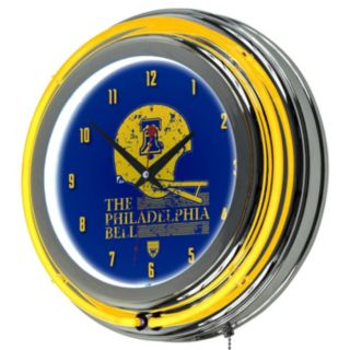 Philadelphia Bell Chrome Double-Ring Neon Wall Clock