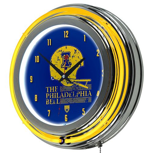 Philadelphia Bell Chrome Double-Ring Neon Wall Clock