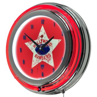 Hollywood Rangers Chrome Double-Ring Neon Wall Clock