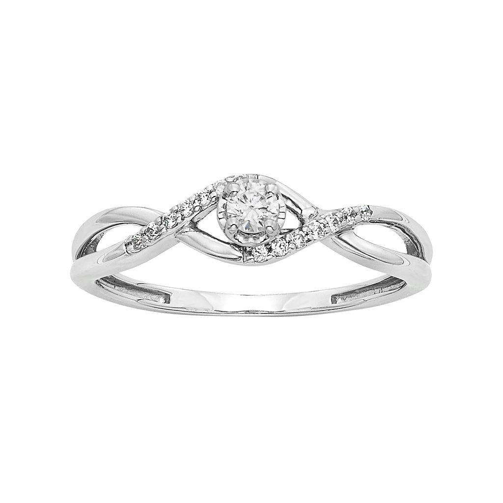 1/6 Carat T.W. Diamond Sterling Silver Infinity Ring