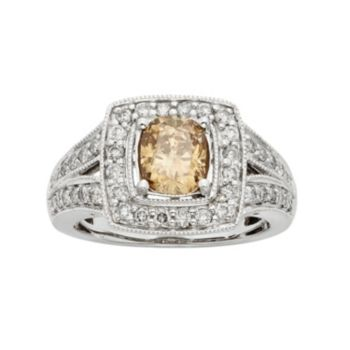 IGL Certified Champagne & White Diamond Square Halo Engagement Ring in 14k White Gold (1 1/2 Carat T.W.)