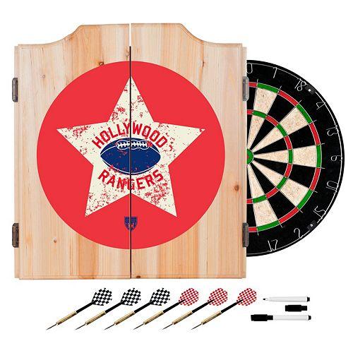 Hollywood Rangers Wood Dart Cabinet Set