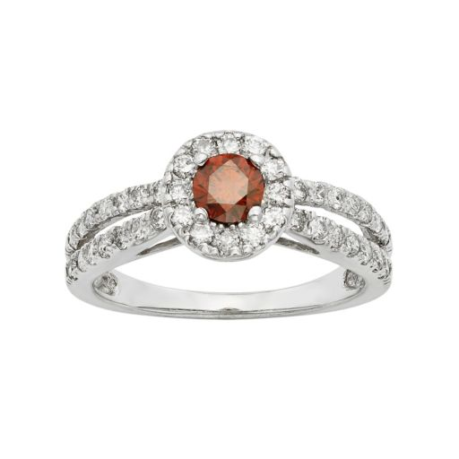 IGL Certified Red & White Diamond Halo Engagement Ring in 14k White Gold (1 Carat T.W.)