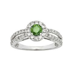 IGL Certified Green & White Diamond Halo Engagement Ring in 14k White Gold (1 Carat T.W.)