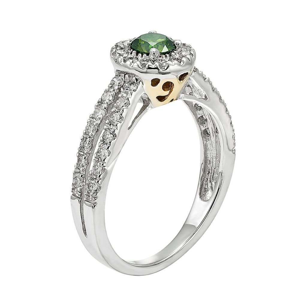 IGL Certified Green & White Diamond Halo Engagement Ring in 14k White Gold (1 Carat T.W.)