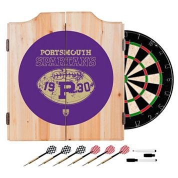 Portsmouth Spartans Wood Dart Cabinet Set