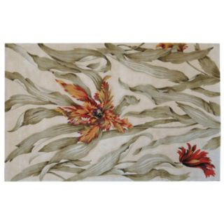 Nourison Tropics Floral Ivory Wool Rug