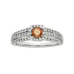 IGL Certified Red & White Diamond Square Halo & Triple Row Engagement Ring in 14k White Gold (1 Carat T.W.)