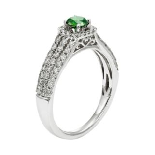 IGL Certified Green & White Diamond Square Halo & Triple Row Engagement Ring in 14k White Gold (1 Carat T.W.)