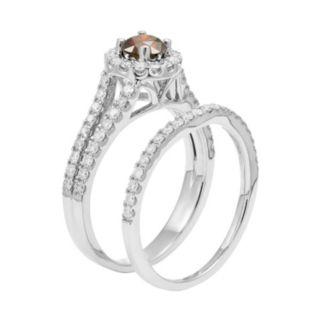 IGL Certified Red & White Diamond Halo Engagement Ring Set in 14k White Gold (1 Carat T.W.)