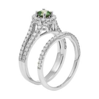 IGL Certified Green & White Diamond Halo Engagement Ring Set in 14k White Gold (1 Carat T.W.)